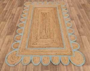 6x9 feet square scalloped jute rug sky blue border jute boho rug jute area rugs