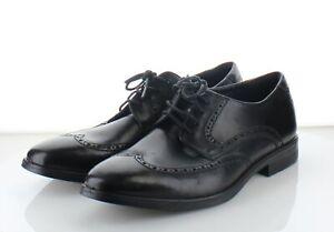 44-70 MSRP $180 Men's Size 44 EU ECCO Calcan Leather Wingtip Oxfords - Black