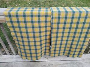 Wool Camp Blanket Yellow Green Brown Plaid 66x60 NICE! Unbranded