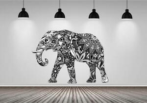 Elephant Abstract Tribal Black White Wall Art Sticker Mural Decal Transfer P5Q