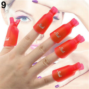 10x Nail Polish Remover Clips Nail Art Soak Off UV Gel Polish Remover Wrap Tool