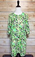 Collective Concepts Women's Green 3/4 Sleeve Half Zip Shift Dress Small NEW