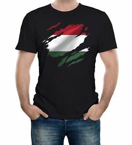 Torn Hungary Flag Men's T-Shirt Hungarian Budapest Country national football