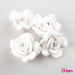20mm Clay Rhinestone Rose White Flower Craft Charm For Jewelry Making 10 pcs