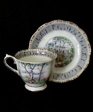 Vintage Royal Albert England bone china tea cup & saucer Silver Birch ca. 1960's