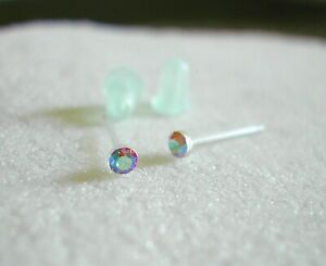 2mm Swarovski LIGHT Colorado Topaz Crystal Stud Earrings NO METAL Tiny