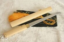 Japanese White Bamboo Handmade Shirasaya Straight Tanto Sword Sharp