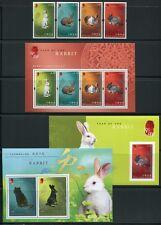 Hongkong 2011 Jahr des Hasen Rabbit Zodiac Gold Silber 1595-98 Block 221-223 MNH