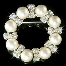 PEARL Wreath made with Swarovski Crystal Wedding Round Circle Pin BROOCH Jewelry