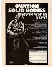 OVATION SOLID BODY ELECTRIC GUITAR PINUP PRINT AD vtgb 70's Breadwinner Axe