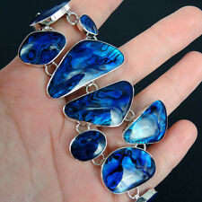 Beautiful BLUE PAUA ABALONE SHELL & Solid 925 Sterling Silver Bracelet, Quality