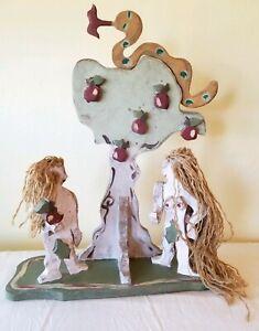 Adam & Eve Forbidden Fruit American Folk Art Wood Sculpture by Min Lindsey 1993