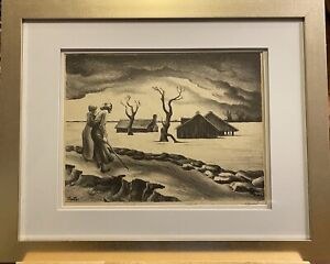"Thomas Hart Benton Rare Hand-signed Limited Lithograph Series ~1939, ""The Flood"""