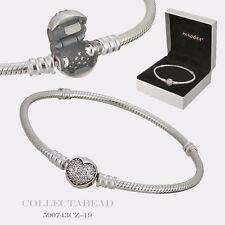 "Authentic Pandora Silver Sparkling Heart CZ Bracelet 7.9"" Hinged Box 590743CZ-20"