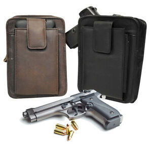 Leather Gun Holster Waist Belt Clip Pistol Pouch Holder Right Left Hand CCW