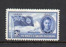 Turks & Caicos Islands - 1948, 3d Blue (sg212) Mint