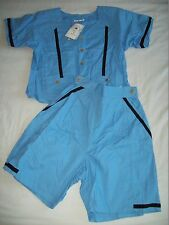Ladies Light Blue & Black Stripe 2 Piece Cotton Outfit Size M/L (12)