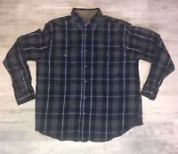 FADED GLORY Men's Blue Plaid Flannel Long Sleeve Button Down Shirt Size: L 42-44