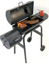 Char-Broil Offset Barrel Smoker Grill BBQ Charcoal Wood Meat Outdoor Shelf Roll