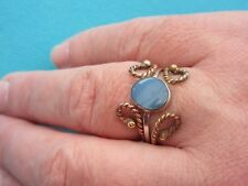 925 Sterling Silver 3 Tone Ring With Australian Opal UK Q 1/2 US 8.25 (rg2780)