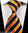 New Classic Stripes Black White Gold JACQUARD WOVEN 100% Silk Men's Tie Necktie