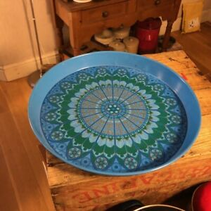 Vintage Bright Blue Patterned Round Painted Metal Serving Tray – Retro! –