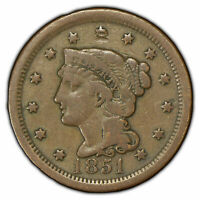 1851 1c Braided Hair Large Cent - Original Mid-Grade Coin - SKU-X619