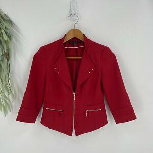 White House Black Market Moto Blazer Jacket Women Size 00P Petite Red Crop Ponte