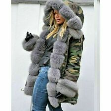 New Women Ladies Autumn Winter Long Warm Thick Parka Faux Fur Jacket Hooded Coat