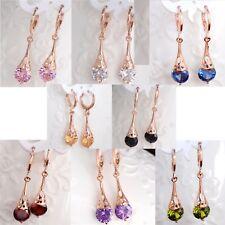 Rose Gold Cubic Zirconia Crystal Pear Drop Water Drop Dangle Earrings Gift UK
