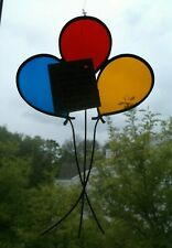 STAINED GLASS Artisan/Artist Original ~ BALLOONS ~ Window Hang SUN CATCHER w/Tag