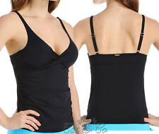 Anne Cole Black Twist-Front Deep-V Underwire Ruched Tankini Top NWT Solid 40B/C