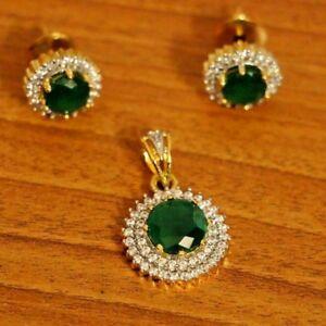 2.17cts ROUND DIAMOND 14k YELLOW GOLD EMERALD WEDDING ANNIVERSARY PENDANT SET