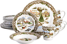 Gibson Christmas Toile Dinnerware Porcelain 16 Pieces Serving Set