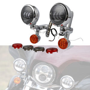 """4.5"""" Auxiliary Fog Light Bracket Turn Signal Fit For Harley Electra Street Glide"""