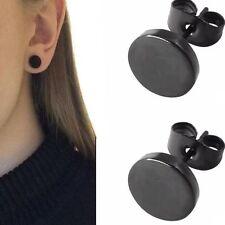 Black Round Shaped For Women Men Earrings Earrings Ear Studs Stainless Steel