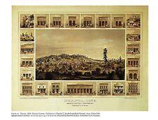 "1976 Vintage CITY ""SHASTA CITY & COUNTY, CALIFORNIA (1856)"" Color Art Lithograph"