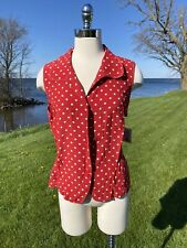 Womens Size XL Top Red  Silk Polka Dots Sleeveless Collared Shirt Allison Taylor