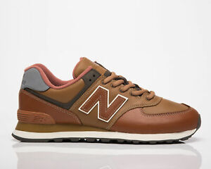 New Balance 574 Men's Brown Low Casual Leather Athletic Lifestyle Sneakers Shoes