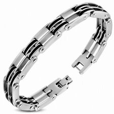 Bracelet with Link Mens Gents Stainless Steel with Rubber Black And