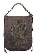 THOMAS WYLDE Distressed Brown Leather Large Skull Studded Shoulder Bag (L)