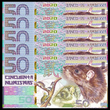 Lot 5 PCS,Kamberra 50 Numismas, China Lunar Year 2020, Polymer, New, UNC, Mouse