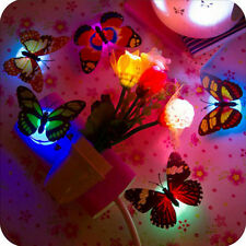 Changing Butterfly LED Night Light Lamp Colorful Home Room Party Desk Wall Decor