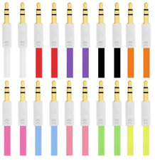 100 x Multi Color Flat 3ft 3.5MM Audio Male to Male Stereo Aux Auxiliary Cable