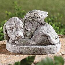 Dog Memorial Statue Garden Canine Pet Grave Marker Puppy Angel Wings Figurine