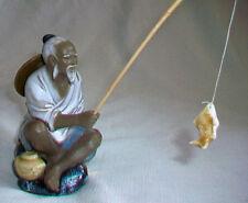 Chinese Old Man Mudmen Fisherman figurine Shiwan Artistic Ceramic Factory China