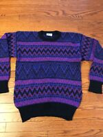 Vintage Meister Ski Sweater Crew Neck Purple Black Wool Nordic Womens size SMALL