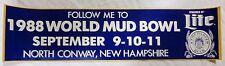 1986 World Mud Bowl Sept. 9-10-11 Bumper Sticker - Sponsored by Miller Lite - NH
