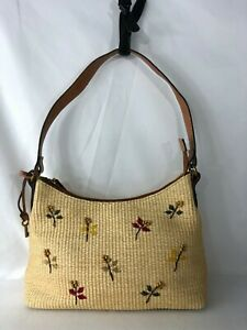 Fossil Straw & Brown Leather Trim Handbag Satchel Woven Flowers Beads Key