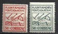 1963-SELLOS LOCALES ESPAÑA GUERRA CIVIL MONTCADA Y REIXAC  COMPLETA TRINCHERAS.
